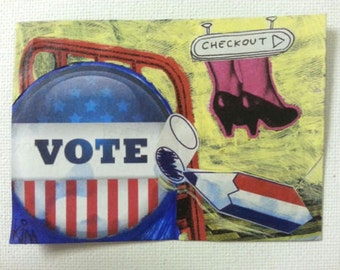 aceo CHECKOUT original kimartist collage foot france french graffiti incorrect modern pop shoes voting woman womens yellow red white blue