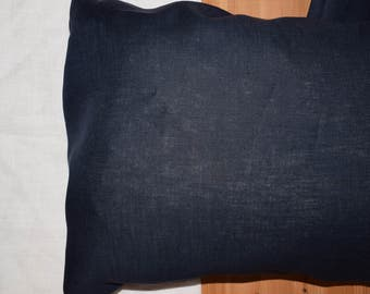 Body pillow case / cover / sham Pure flax linen Navy Blue / midnight blue color. Size options.