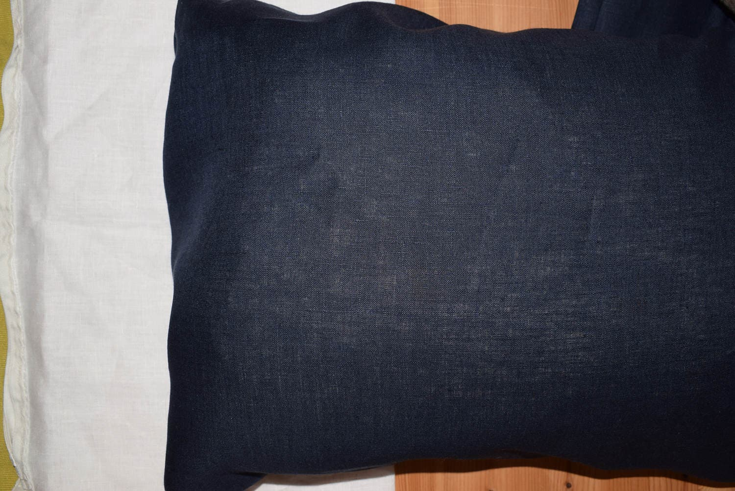 Body Pillow Case Cover Sham Pure Flax Linen Navy Blue