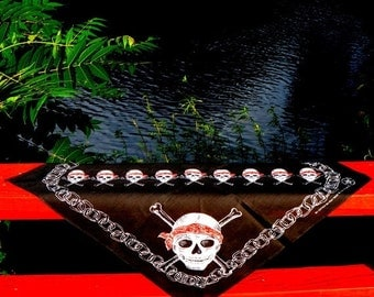 Skull and Crossbones Pirate Bandana 1980s Vintage Jolly Roger Banner Pirate Scarf Black Red White Bandanna Neckerchief Kerchief Head Scarf