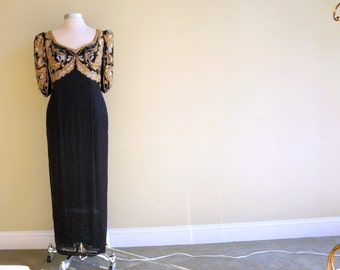 Black Silk Beaded Silver & Gold Sequin Dress MEDIUM Designer Holiday Dazzle Formal Gown New Years Eve Party Oleg Cassini
