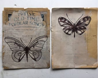 Oh Butterfly Butterfly on vintage music paper