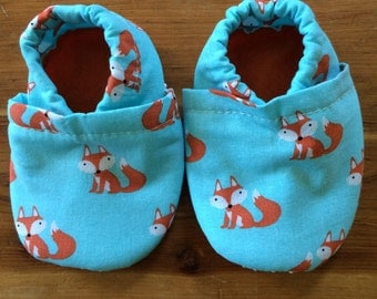 Soft sole shoes, foxes, first shoes, elastic heels, grippy soles, infant to toddler, baby shower gift