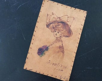 Post Card - Vintage 1900's Mail Leather Post Card Art