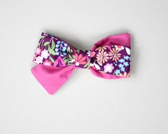 Orchid Floral piper Color Block Bow Headband or Clip
