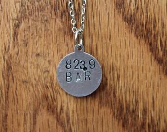 823.9 BAR - JM Barre Dewey Decimel Metal Stamped necklace