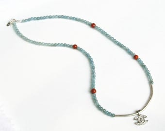 natural gemstone apatite red agate 925 sterling silver 2-way necklace bracelet handmade jewelry