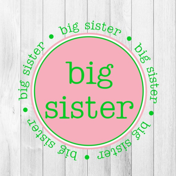 INSTANT DOWNLOAD Big Sister Pink Green Printable DIY Iron On to Tee T-Shirt Transfer Big Sister Gift Announcement