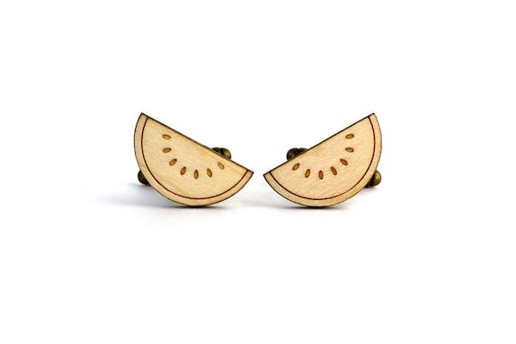 Watermelon cufflinks - exotic fruit cufflinks - summer wedding - lasercut maple wood - groom - bestman - kitsch accessory - tropical holiday