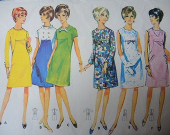 vintage 1960s Butterick sewing pattern 4348 misses semi fitted A line dress size 14
