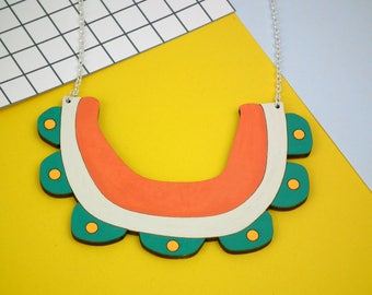 Flower Bib Statement Necklace - Laser Cut Jewellery - Chunky Wooden Necklace - Contemporary Collar - Bib Necklace - Tropical Jewelry