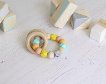 Rattle Ring beaded teething ring with natural wood rings, bpafree silicone chewable beads, teether and sensory ring by Mustard & Mint