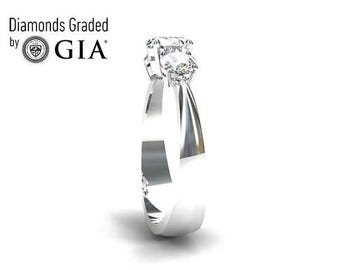 GIA certificated diamond trinity engagement ring made from 950 platinum ,unique engagement ring, diamond solitaire, vintage style, custom