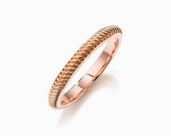 SIZE 5.5, Corda wedding band made from 14k rose gold, unique, thin wedding ring, robe, engagement, modern, promise, anniversary, red gold