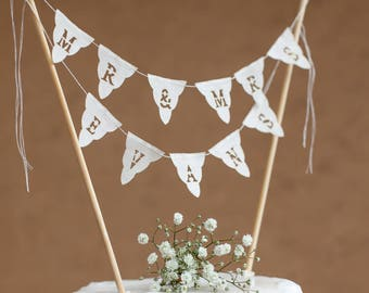 Personalised fabric Wedding cake bunting  - Mr and Mrs custom topper