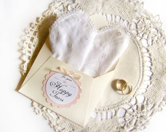 Happy Tears Wedding Hanky, Vintage White Handkerchief, Mother of Bride Gift Mother of Groom Gift Gift for Bride, Bridal Shower Best Friend