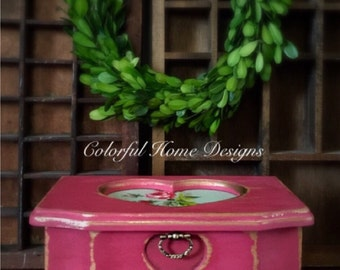 Jewelry Box, Upcycled Jewelry Box, Painted Jewelry Box, Farmhouse Jewelry Box, Shabby Chic Jewelry Box, Cottage  Jewelry Box, Decoupage Rose