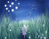 Fairy Night -  Mounted or framed Print of a Fairy in the night