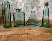 Small aqua bottle collection, antique bottles, home decor, small bottles, perfume bottles, bathroom decor, flower vase, bottle collection