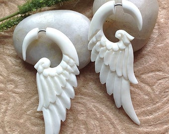 "Fake Gauges, Wing Earrings, ""Messenger Wings"" Natural, Bone, Handcrafted, Tribal"