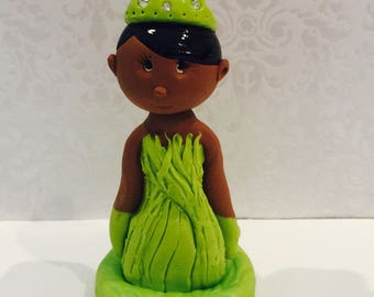 Black Princess cake topper,African American figurines,Princess,Tia,handmade,polymer clay
