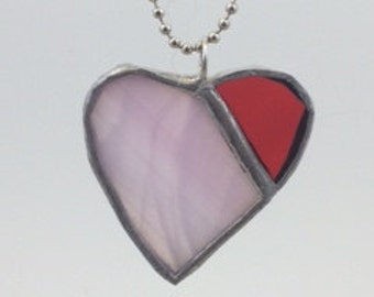 Pink and Bright Red Stained Glass Heart Pendant, Heart Pendant, Recycled Stained Glass Jewelry, kimsjoy, Valentine Gift, Mother Gift