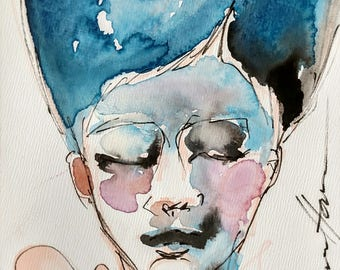 Sweet Dances- 5x7in Original Watercolor & Ink Portrait, Art board