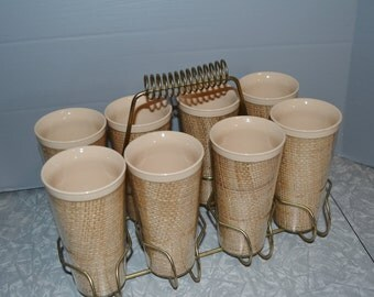 Raffia Ware Melmac Pastel Glass Tumbler Set of 8 with Carrrier ~  Insulated Glasses ~ Mid Century Retro Kitchen ~ Epsteam