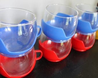 "MCM Atomic Style Vintage Set 6 Rolly Polly Glass mugs with removable Red and Blue Bases,Vintage Pyrex ""DrinkUps"" Hot Cold Glasses"