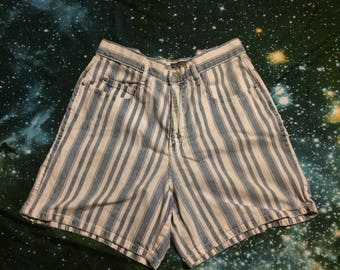 Vintage Palmetto's Jeans Wear Brand Blue and White Striped High Waist Denim Shorts