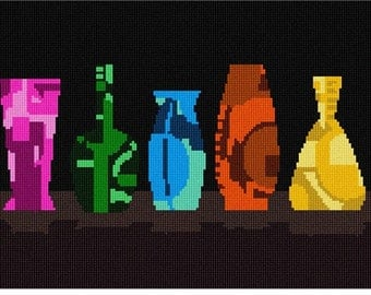 Needlepoint Kit or Canvas: Colorful Vases