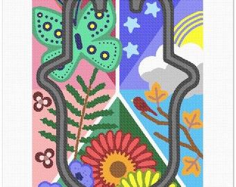 Needlepoint Kit or Canvas: Hamsa Nature