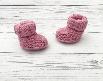 pink knitted booties | baby girl shoes | gender reveal | knit baby booties | baby girl booties