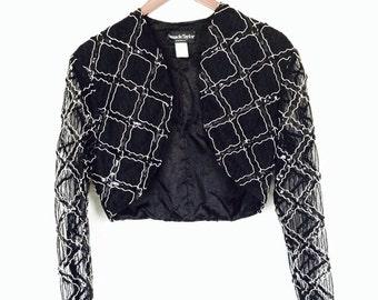 Amanda Taylor Lace Sequin Blazer Crop Top Medium Large 90s