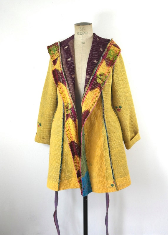 Kantha quilt jacket coat hooded