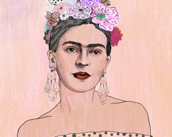 Frida Kahlo fine art print on thick textured paper signed A3/ A4