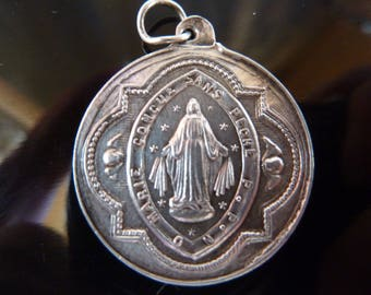 Antique Genuine silver French Religious Medal  N.D DES VICTOIRES   Our Lady of victories  Pendant Charm
