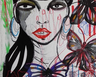 Portrait Woman Art Portrait Painting Portrait Drawing Portrait Fine Art Strange Woman Strange Portrait Woman Butterflies Contemporary Art