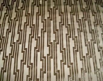 CLARENCE HOUSE ART Deco Geometric Fretworks Cut Velvet Silk Fabric 1 Yard Remnant Sandstone Cream