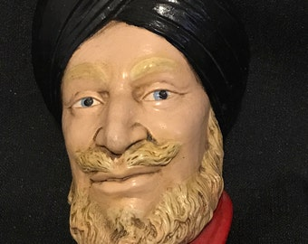 "Vintage Chalk Man Bust ""Bossons"" Chalk Wall Hanging Realistic Man in Turban"