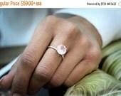 WINTER SALE -  love ring,rose quartz ring,pink quartz ring,pink ring,rose quartz jewelry,round prong stone ring,gemstone ring