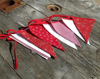 Red and White and Bunting.  Christmas Bunting