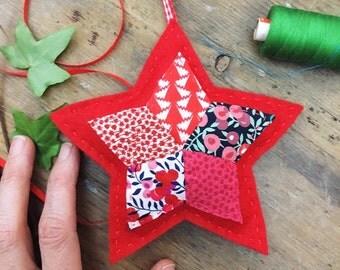 Christmas decoration - Red felt star - patchwork Christmas ornament - Liberty fabric Christmas - traditional Christmas - heirloom ornament