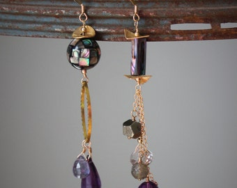 Hannah Earrings: Asymmetrical pair of long purple tone earrings on 14k gold filled wire, chain and ear wire (amethyst, iolite, pyrite)