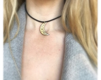 Gold Moon Choker 22k Hammered Porcelain Necklace IN STOCK Ready To Ship