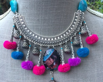 """Torque ethnic Christmas, brass silver, cabochon, PomPoms and charms """"Woman of the steppes"""""""