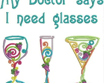 Embroidered Towel - My doctor says I need glasses -