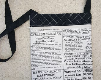 Quilted Shoulder Bag or Grab and Go Purse in Newspaper Fabric!