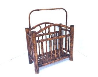 Antique English Tortoise Bamboo Magazine Rack Handle Canterbury Stand Holder Victorian Scorched Bamboo Rattan Colonial Music Living Room