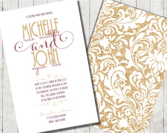 Burgundy and Gold Wedding Invitations, Gold Wedding Invitation, Burgundy Wedding Invitation, Wedding Invitation, Glitter Wedding Invitation